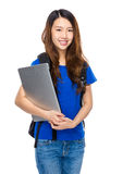Asian woman student with backpack and laptop Stock Photography
