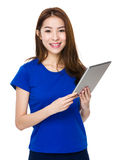 Asian woman student smile face and happy with holding a computer Royalty Free Stock Photography