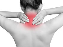 Asian woman suffering from neck pain. mono tone red highlight. Asian woman suffering from neck pain. mono tone highlight with red color at neck isolated on white Royalty Free Stock Images