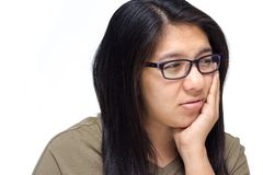 Woman have a toothache Stock Photos