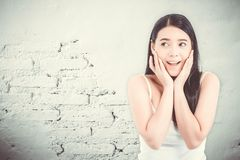 Asian woman surprise hold cheek with hand, Beautiful girl Stock Photo