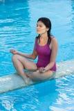 Asian woman at swimming pool. Royalty Free Stock Image