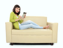 Asian woman with tablet pc Royalty Free Stock Images
