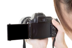 Asian woman take a photo with camera Stock Photos