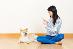 Asian woman take photo to shiba by mobile  phone Stock Photos