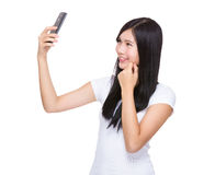 Asian woman take sefie Royalty Free Stock Photo