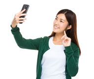 Asian woman take selfie Royalty Free Stock Photography