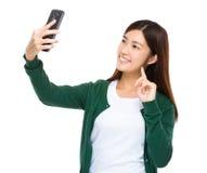 Asian woman take selfie Royalty Free Stock Photography