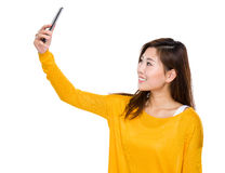 Asian woman take selfie Royalty Free Stock Photos