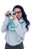Asian woman taking picture with digital camera Stock Photography