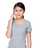 Asian woman talk so cellphone Stock Photography