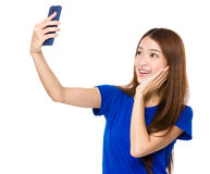 Asian woman talk selfie on cellphone Royalty Free Stock Images