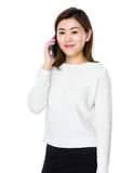 Asian woman talk to cellphone Stock Image