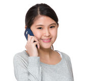 Asian woman talk to cellphone Royalty Free Stock Image