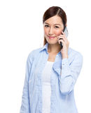Asian woman talk to mobile phone Royalty Free Stock Photo