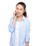 Asian woman talk to mobile phone Stock Photos
