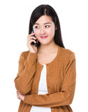 Asian woman talk to mobile phone Royalty Free Stock Photography
