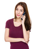 Asian woman talk to mobile phone Stock Photos