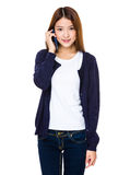 Asian woman talk to mobile phone Stock Photography