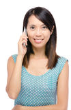 Asian woman talking with phone Royalty Free Stock Photos