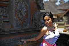 Asian Woman in a Temple Stock Photography
