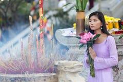 Asian woman at temple Royalty Free Stock Photos