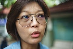 Asian women in tension mood stock photos
