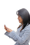 Asian woman texting Royalty Free Stock Image