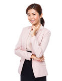 Asian woman think of idea Royalty Free Stock Photography