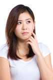 Asian woman think Stock Image