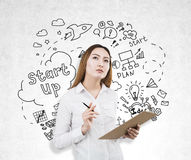Free Asian Woman Thinking About Startups Royalty Free Stock Images - 85027509