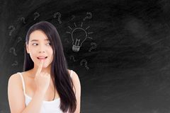 Asian woman thinking with drawing question mark Stock Images