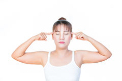 Asian woman thinking and keeping her eyes closed. On white background Royalty Free Stock Images