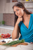 Asian woman,thinking what yoo cook Stock Photo