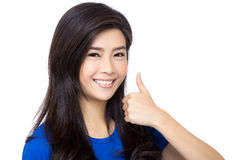 Asian woman thumb up Stock Photography