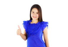 Asian woman with thumb up isolated on white Royalty Free Stock Photo