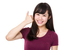 Asian woman with thumb up Royalty Free Stock Photo