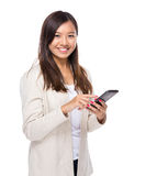 Asian woman touch on mobile phone Stock Photos