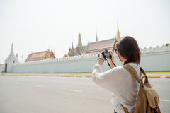 Asian woman tourist city street lifestyle Stock Photography