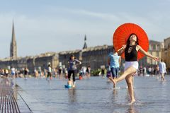 Asian woman tourist in France Stock Images