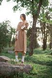 Asian woman in traditional japanese kimono outdoors royalty free stock photos