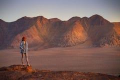 Asian woman traveler in Wadi Rum desert, Jordan stock photography