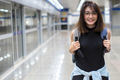 Asian women are traveling by subway in Thailand. royalty free stock photo