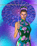 Asian woman with umbrella, pink flowers, blue and purple abstract background. Royalty Free Stock Images