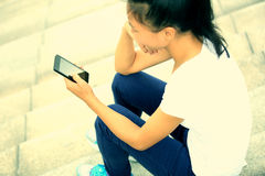 Asian woman use cellphone Stock Image