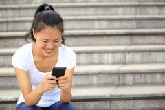 Asian woman use cellphone Stock Photo