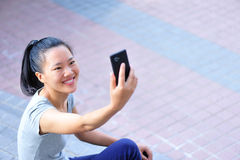 Asian woman use cellphone Royalty Free Stock Photography