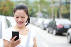 Asian woman use smartphone Royalty Free Stock Photo