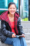Asian woman use tablet Stock Photo