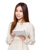 Asian Woman use of tablet Stock Image
